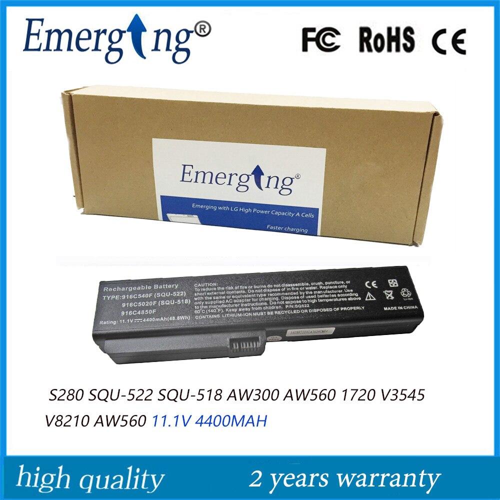 11.1V 4400mah New Laptop Battery for   S280 SQU-522 SQU-518 AW300 AW560 1720 V3545 V8210 AW560