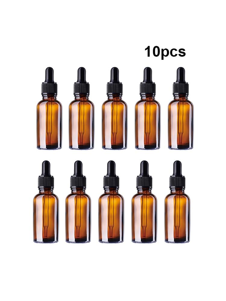 10 шт 50 мл бутылка эфирного масла, янтарные стеклянные бутылки для лосьона, коричневый косметический контейнер