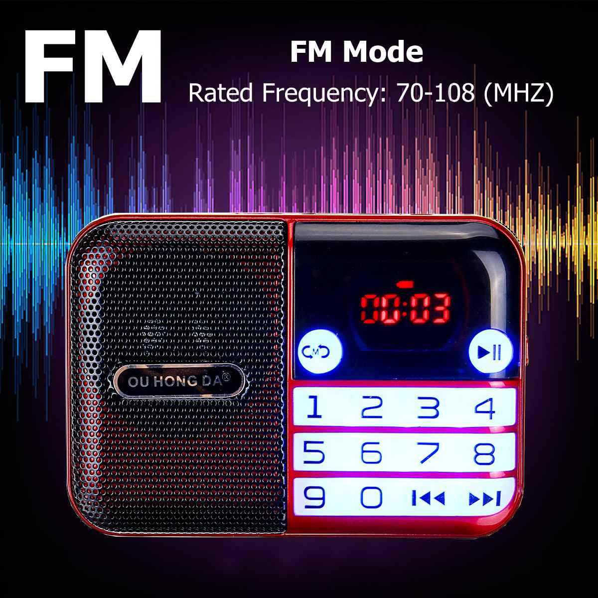 Radio FM portátil 70-108MHZ pantalla Digital memoria de apagado USB TF tarjeta altavoz MP3 música Palyer