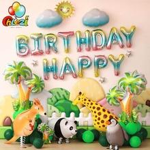 1 lot de ballons danniversaire pour thème animal   Ballon à feuille dinosaure poisson, décorations de fête danniversaire pour bébé garçon fille, réception-cadeau pour enfants