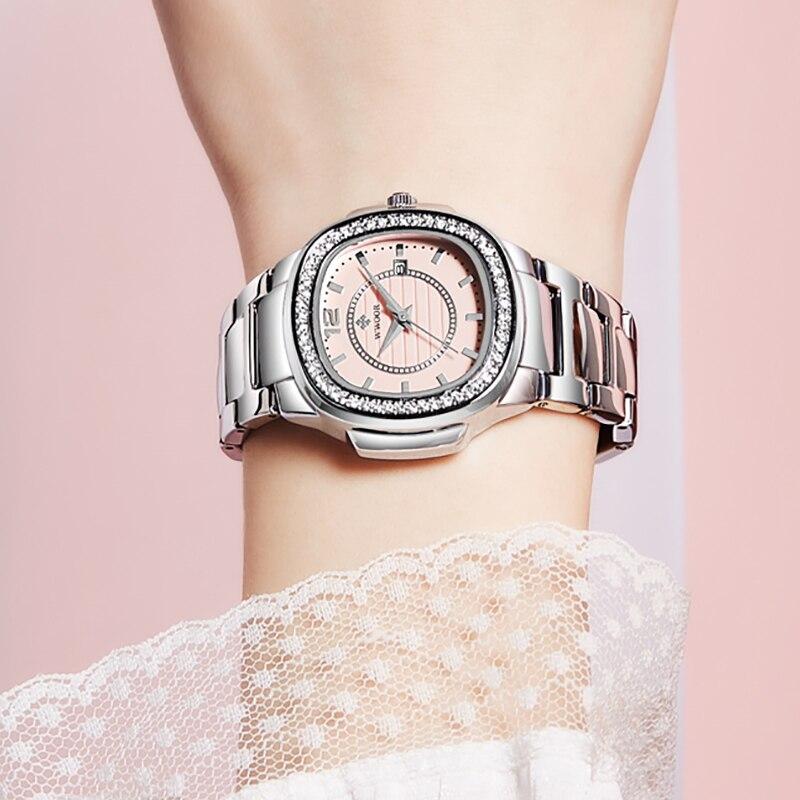 WWOOR Brand 2021 Pink Ladies Wristwatch Famous Luxury Diamond Gift Dial Date Watch Women Stainless Steel Womens Bracelet Watches enlarge