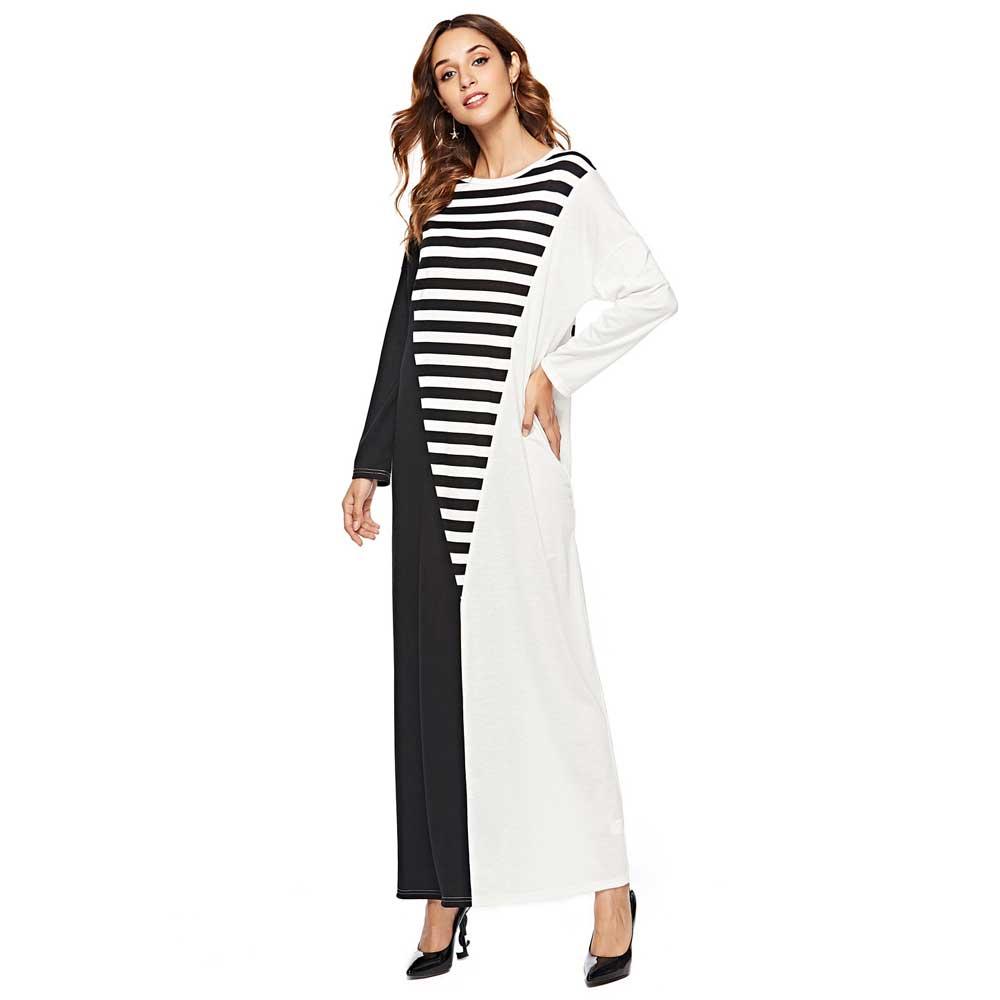 Maxivestido estampado a rayas con bloques de colores de retazos para mujer, Vestido camisero de manga larga, Túnica árabe abaya para el Ramadán EID, Túnica árabe VKDR1915