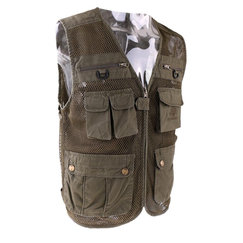 Multi bolsillo para hombres de secado rápido fotógrafo chaqueta Chaleco de pesca