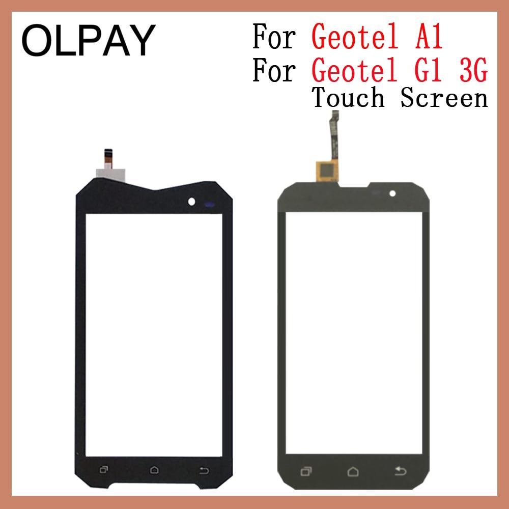 """OLPAY עבור Geotel A1 4.5 """"מגע מסך Digitizer עבור Geotel G1 3G 5.0"""" מגע פנל מסך מגע חיישן קדמי זכוכית תיקון חלקים"""