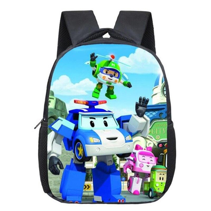 Mochilas escolares de dibujos animados para niños, mochilas para niños, bolsas con diseño de Anime Robocar, bolsa de polietileno, mochila de viaje informal para guardería