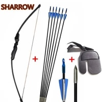 archery bow arrow kits 40lbs straight hunting bows recurve bow with 6pcs fiberglass arrows finger guard for hunting shooting