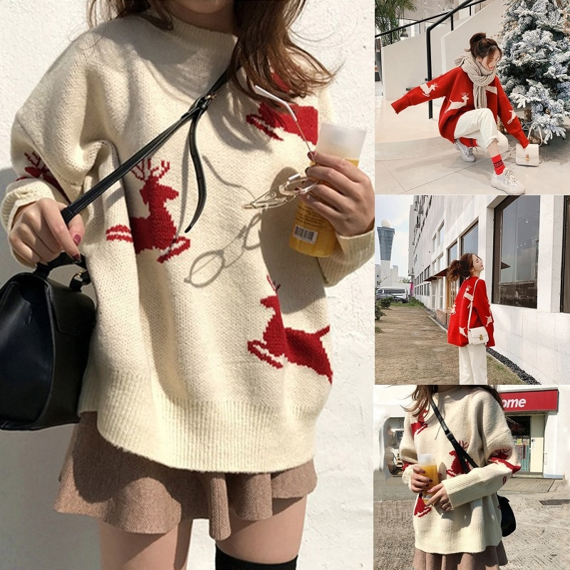 Women Long Sleeves Round Neck Knitted Sweater Solid Color Fawn Pattern Pullover enlarge