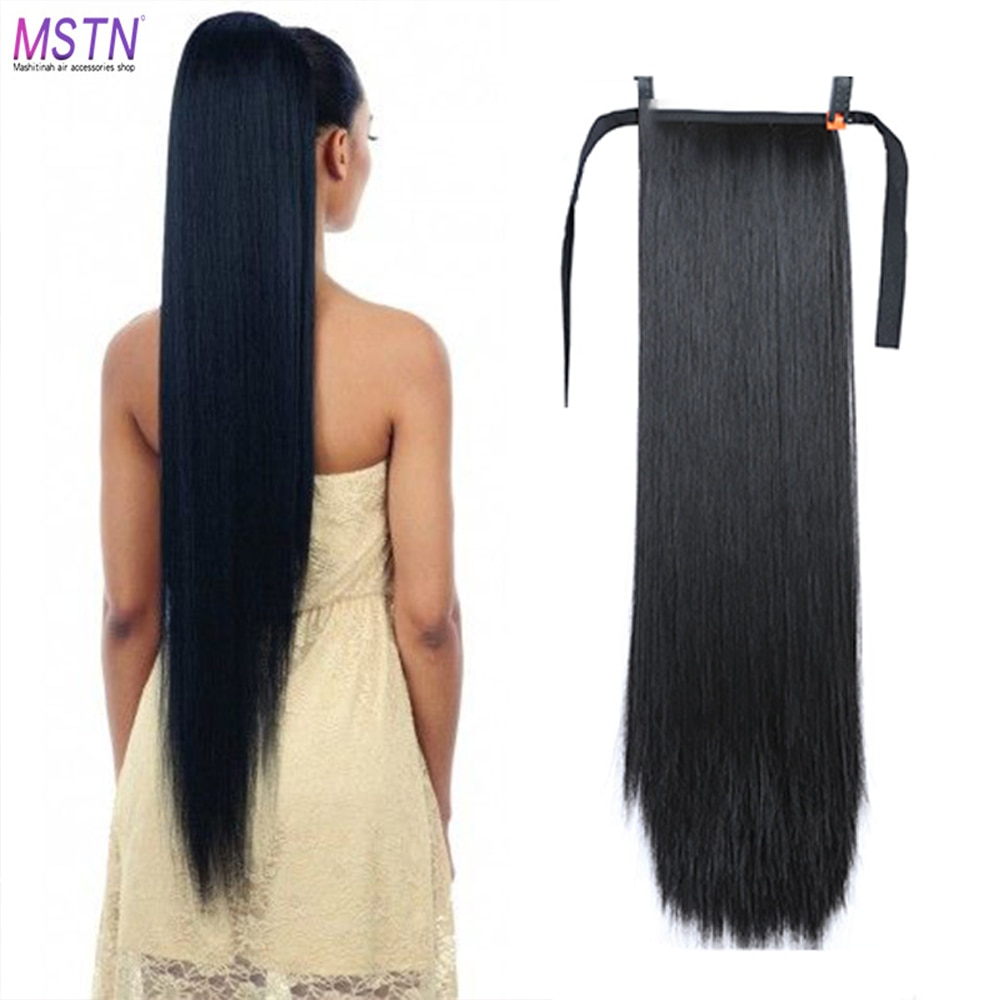 MSTN 30-Inch Synthetic Hair Fiber Heat-Resistant Straight Hair With Ponytail Fake Hair Chip-in Hair