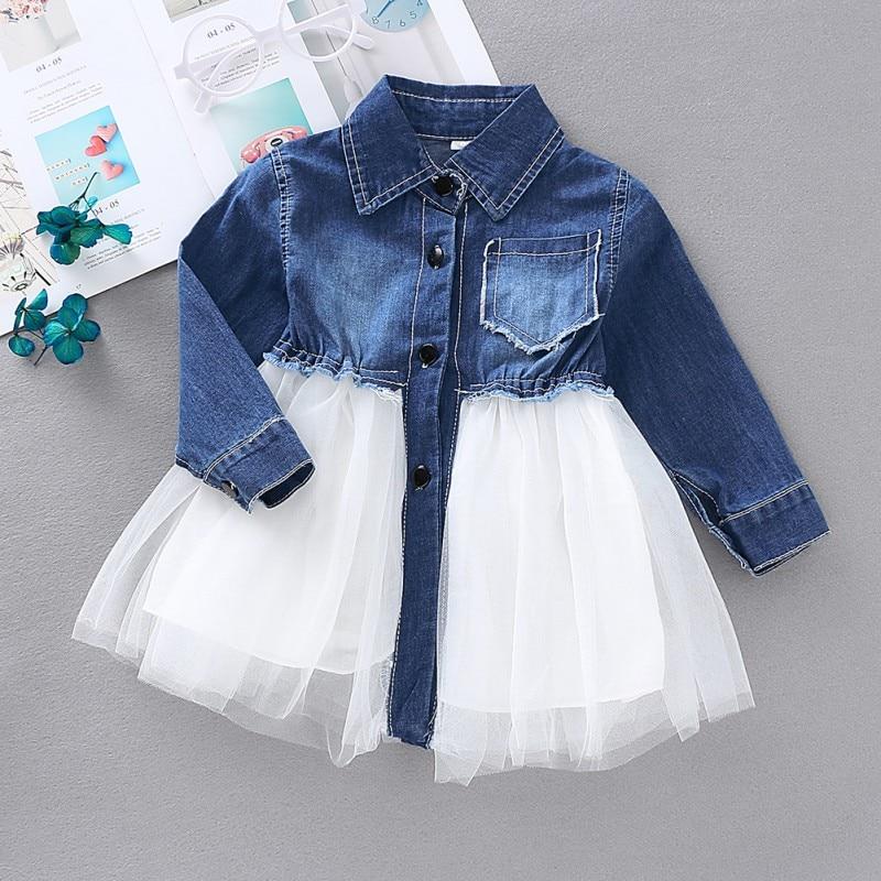 Vestido de niña de mezclilla de malla vestido de princesa Vestido de manga larga vestidos infantiles para niñas 2019 nueva primavera otoño niño niña ropa