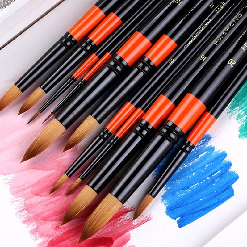 11PCS/lot Hwahong Pait Brush 700 South Korea Classic Nylon Wool Round Head Watercolor Oil Painting Pen Acrylic Brush Set