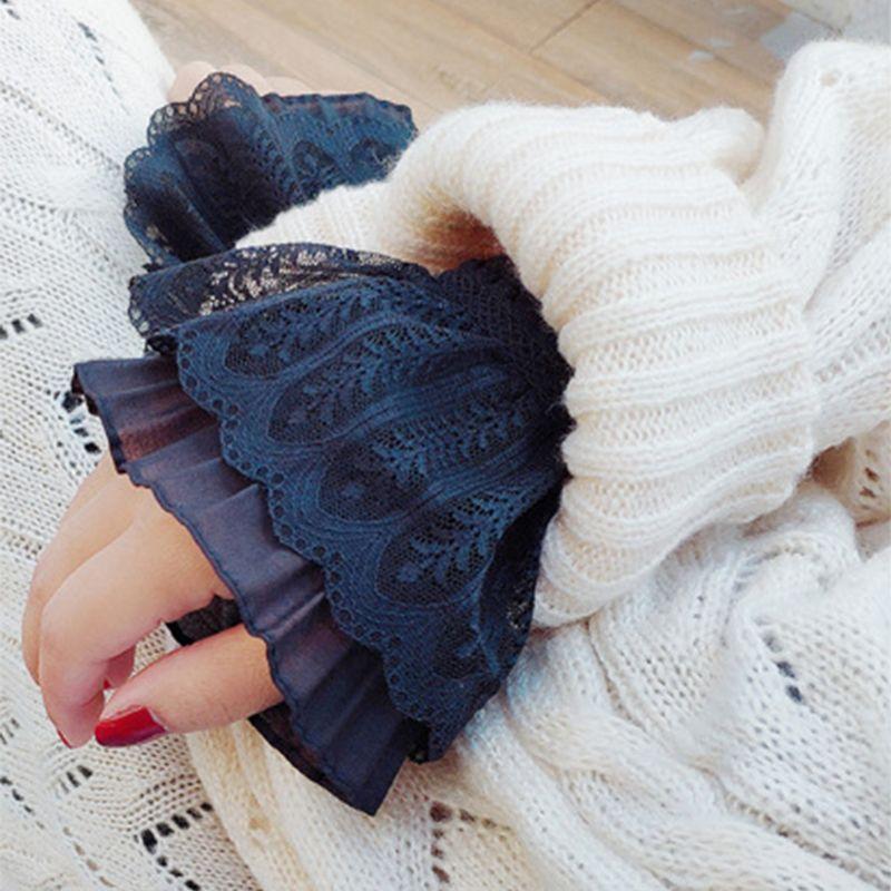 Для женщин девушки поддельные расклешенными рукавами цветочные кружевные плиссированные с рюшами накладные манжеты свитер блузка одежда ...
