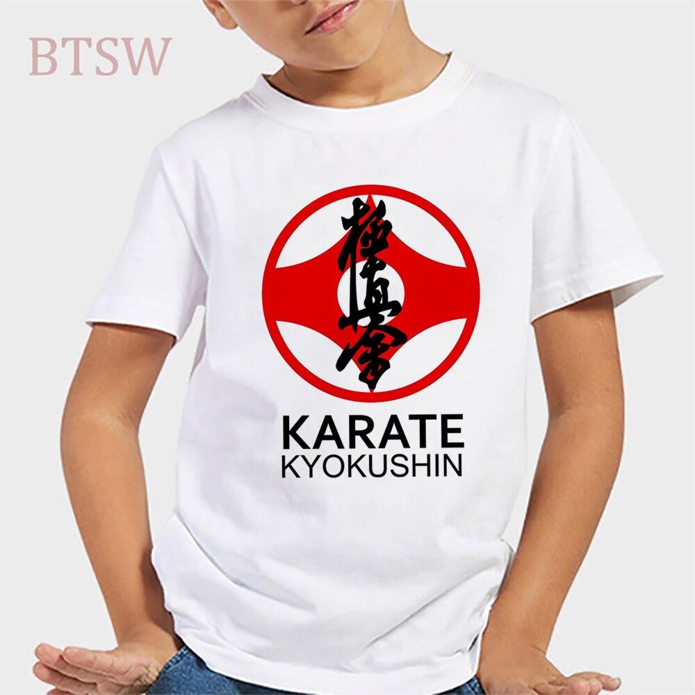 Kyokushin T-Shirt manches courtes enfant   Karate Kanji et symbole, garçons/filles T-Shirts grands enfants, hauts Kawaii enfants, en coton