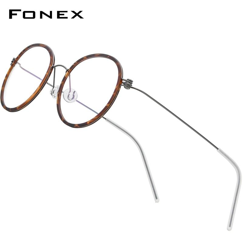 FONEX B Titanium Glasses Frame Men Round Myopia Optical Frames Women Prescription Eyeglasses 2021 Korean Screwless Eyewear 7512