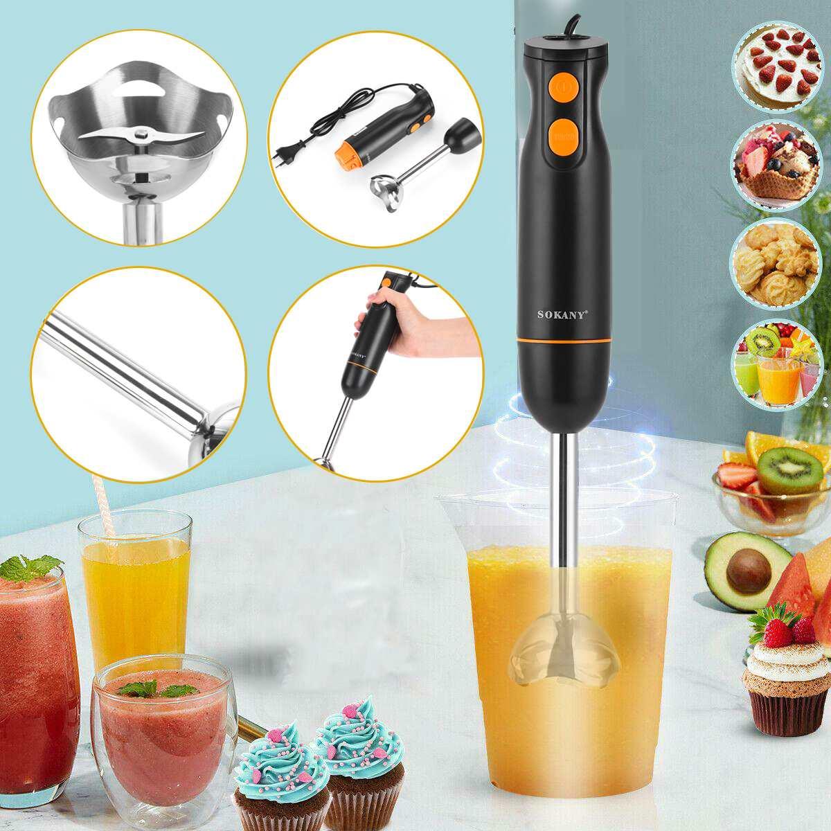 2Speed Hand Blender Electric Food Blender Mixer Kitchen Detachable Hand Food supplement machine Egg Beater Vegetable Stand Blend