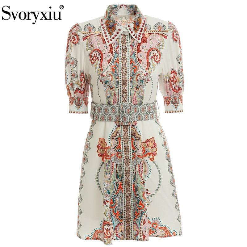 Svoryxiu Fashion Runway Summer Print Dress Women's Beaded Diamond Turn-Down Collar Short Sleeve Single-Breasted Dresses Vestdios