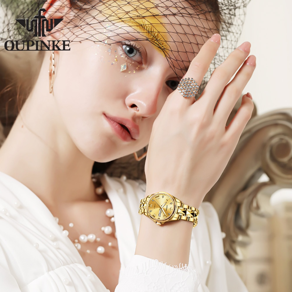 OUPINKE Gold Watch Women's watches Luxury Brand Women Mechanical Watch Sapphire Glass Ladies Automatic Wrist Watch montre femme enlarge