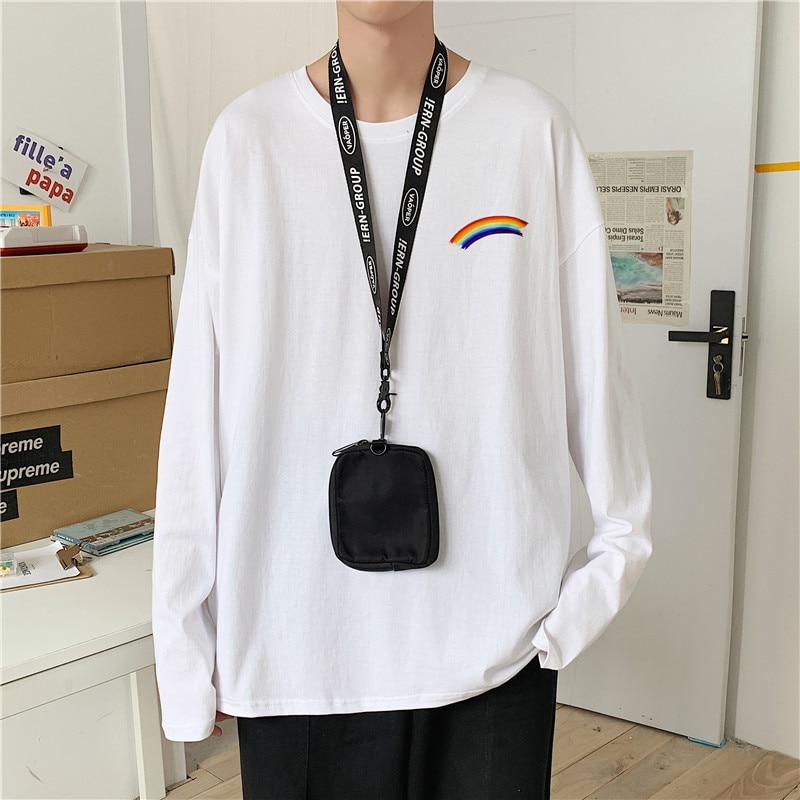INS Hong Kong Style Printed Cotton Long Sleeve T-shirt Men Korean-style Spring and Autumn Stylish CO