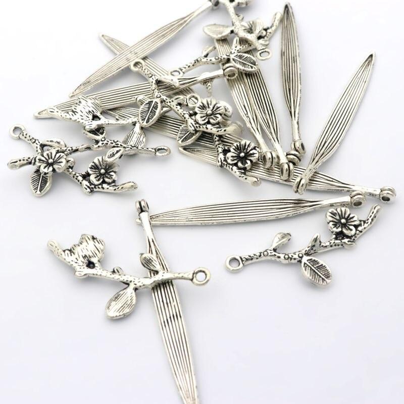 30 pcs עתיק כסף צבע מתכת פרח סניף עלה קטן ארוך קסם תליון עבור תכשיטי ביצוע Diy עגיל Bracele אבזרים