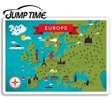 Jump Time for Europe Map Vinyl Stickers EU UK Travel Sticker Laptop Luggage Car Bumper Decal Waterpr