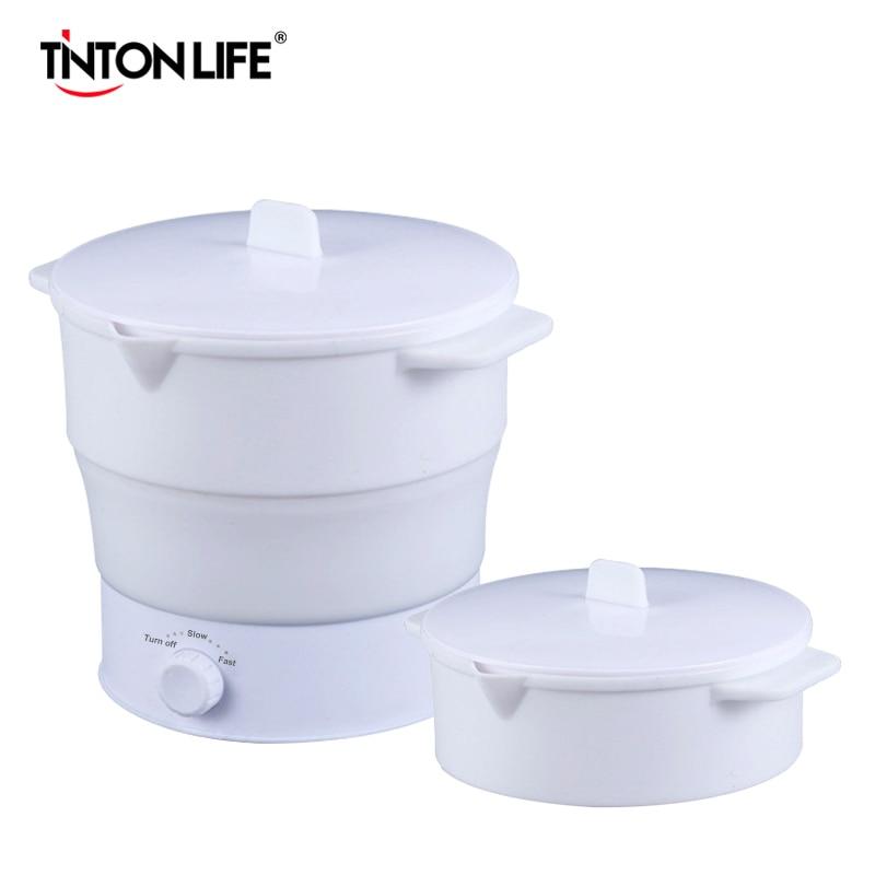 Tetera eléctrica plegable de 1 l, recipiente para comida calentado, fiambrera calentada, cocina multifuncional, tetera caliente portátil para cocinar té