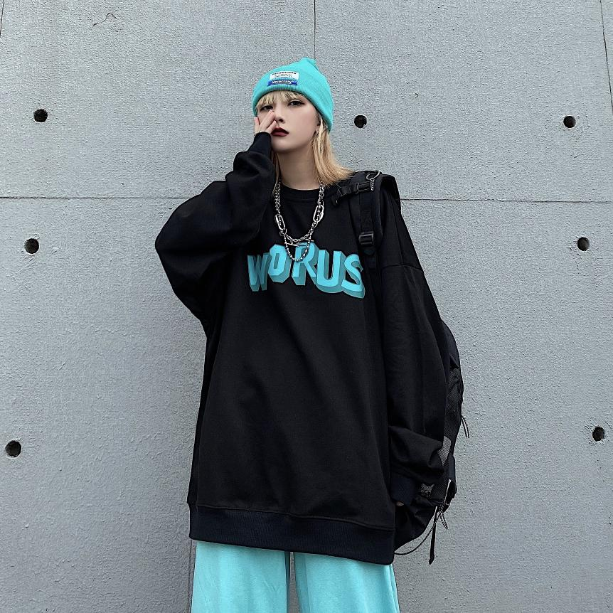 Street Style Fashion Oversize Letter Loose Sweatershirt Women's Spring New Black O-neck Pullovers Korean Long Sleeve Trend Top