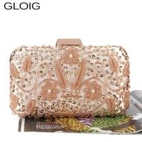 small wedding bridal handbags sequined day clutch purse beading flower women bags golden metal luxury evening bags