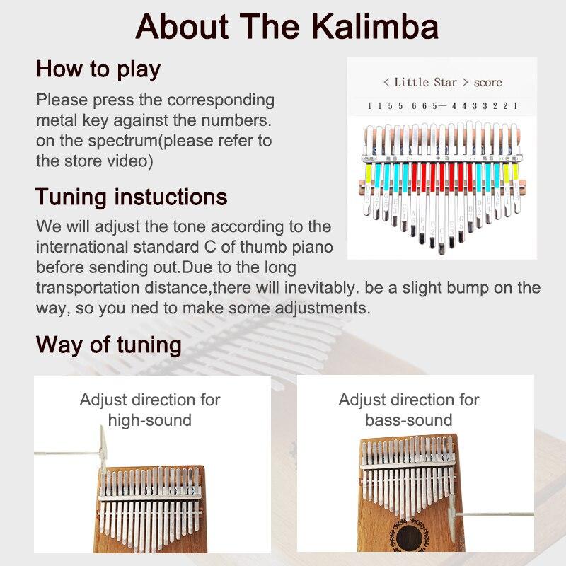 Aiersi Solid Koa 17 Keys Gecko Kalimba Thumb Piano Calimba Musical gift with Song instruction book Tune Hammer and bag enlarge