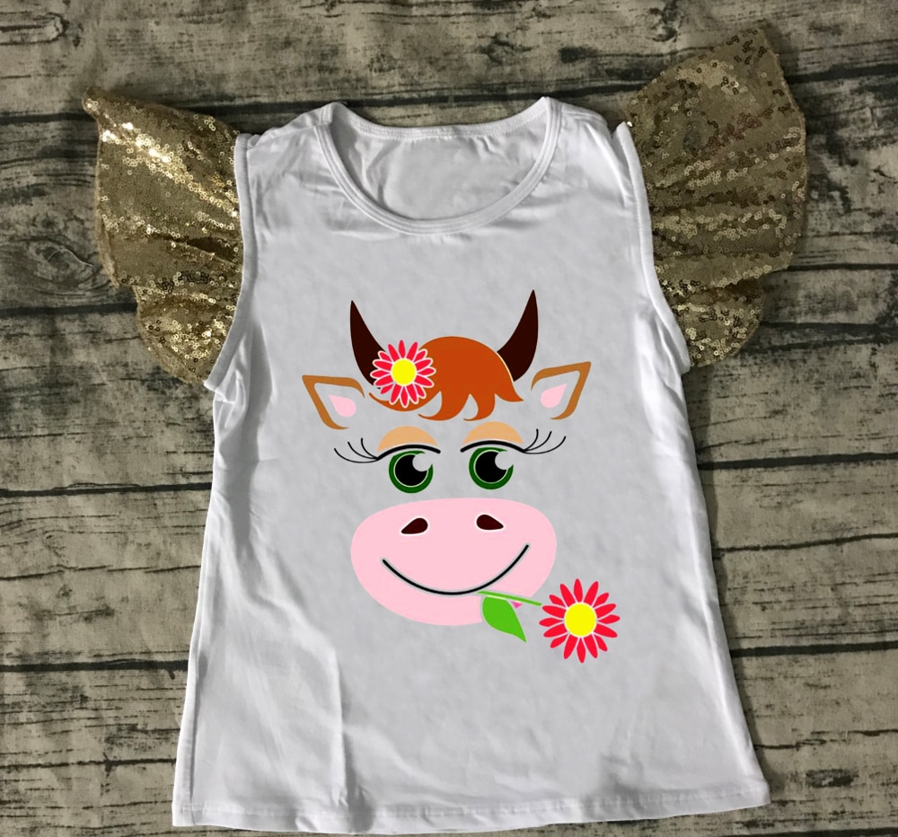 طفلة ملابس الفتيات مجنون heifer قميص الفتيات البقر الأطفال قطنية عالية الجودة قميص أبيض مع الترتر رفرفة كم الفتيات لطيف المحملة