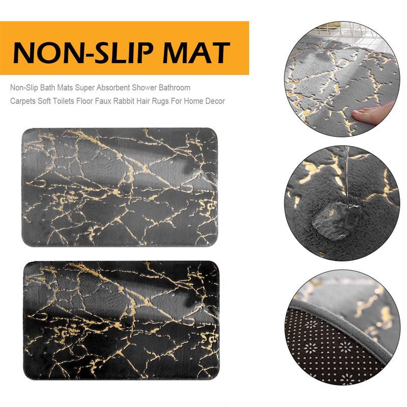 Non-Slip Bath Mats Super Absorbent Shower Bathroom Carpets Soft Toilets Floor Faux Rabbit Hair Rugs For Home Decor enlarge