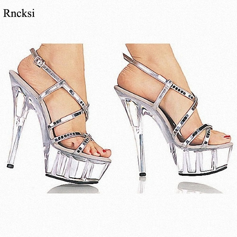 Rncksi, fabricantes de zapatos de boda de verano, venta en 15 cm, tacones altos, sandalias de baile con correas de plataforma impermeables