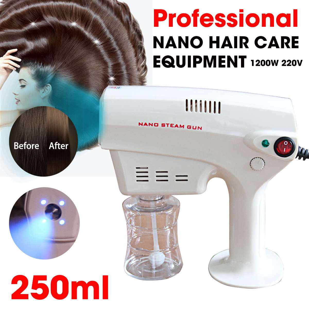 1200W 220V 250ml Electric ULV Sprayer Blue Light Atomizing Fogger Machine Hair Nanos Steam Spray Guns Hospital Home Disinfection
