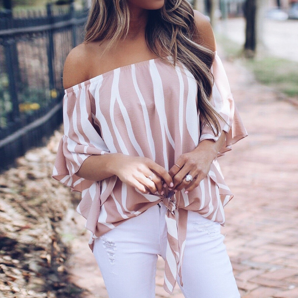 Nueva blusa a rayas con hombros descubiertos de verano para Mujer Blusa de manga corta Camisas casuales Sexy Camisas Mujer Tops Pullover damas