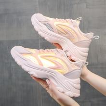 2021 Vulcanized Shoes Women Sport Platform Sneakers Fashion Mesh Breathable Basket Femme Chunky Snea