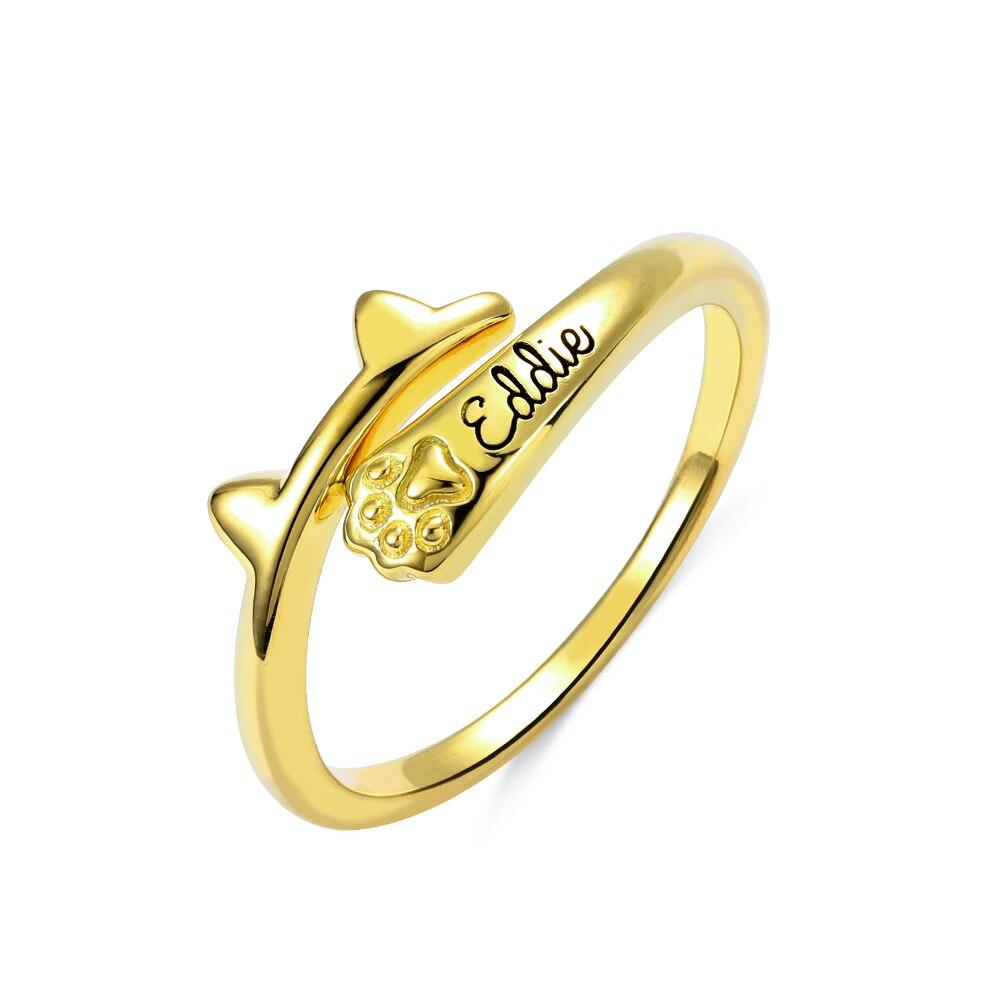 Anillo de oreja de gato con diseño de anillo de oreja de gato de AILIN, bonito anillo de moda para mujeres y niñas, regalos, anillo con diseño de Pata de Gato, anillo de nombre personalizado de plata 925