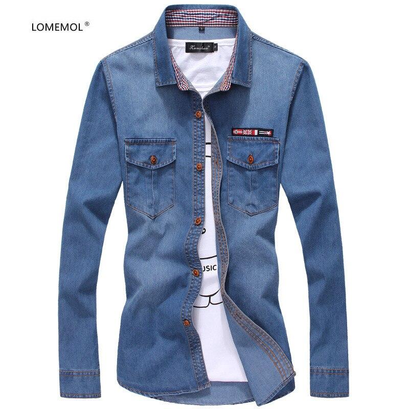 Мужские рубашки LOMEMOL, новинка 2021, трехсезонные мужские повседневные джинсовые рубашки в трех цветах, приталенные рубашки с логотипом флага, ...