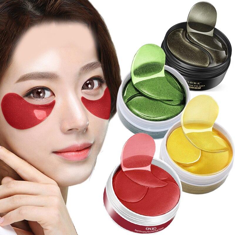 60PCS Moisturizing Eye Mask Hyaluronic Acid Repair Eye Patches Remove Dark Circles Crystal Collagen Gel Eye Mask Skin Care