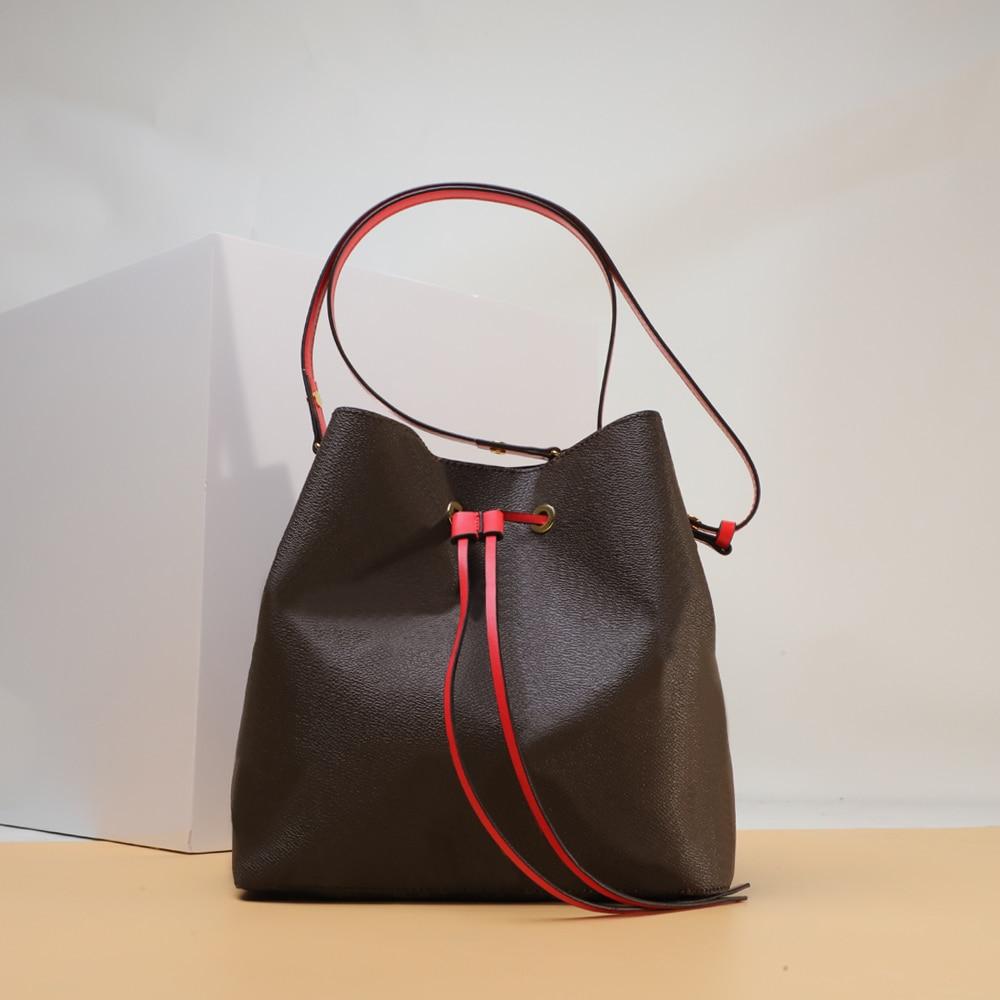 أعلى جودة الكلاسيكية الفاخرة مصمم دلو حقيبة متوسطة للمرأة الرباط جيب الجلود الكتف حقيبة ساعي شحن مجاني