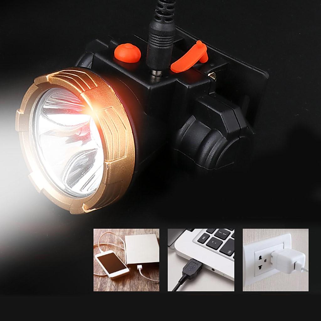 Faros fuertes faros Led impermeables luces de pesca faros exteriores carga USB 2 archivos lámpara de minero iluminación de trabajo