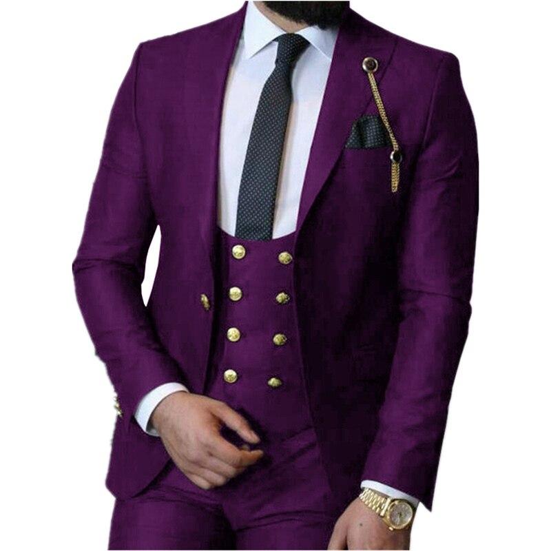 Handsome One Button Groomsmen Peak Lapel Groom Tuxedos  Men Suits Wedding/Prom/Dinner Best Blazer(Jacket+Pants+Vest+Tie) 394