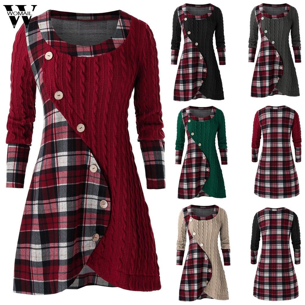 Womail Women Blouse Autumn Long Sleeve Plaid O-Neck Tartan Tunic Top Pachwork Asymmetric Button Lattice Female Blusas Mujer plus