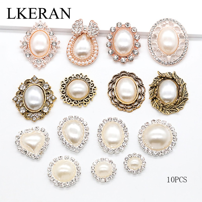 LKERAN 10pc ivory pearl series metal buttons flatback Crystal Pearl Decorative Button DIY handmade Flower Center Accessories 100pcs lot 3 20colors diy polyester fluffy ballerina chiffon flower with pearl button in centre handmade accessories