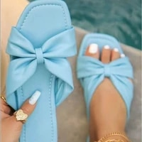 2021 summer women bow slippers luxury square toe flat female outdoor beach comfortable non slip sandals plus size 36 43
