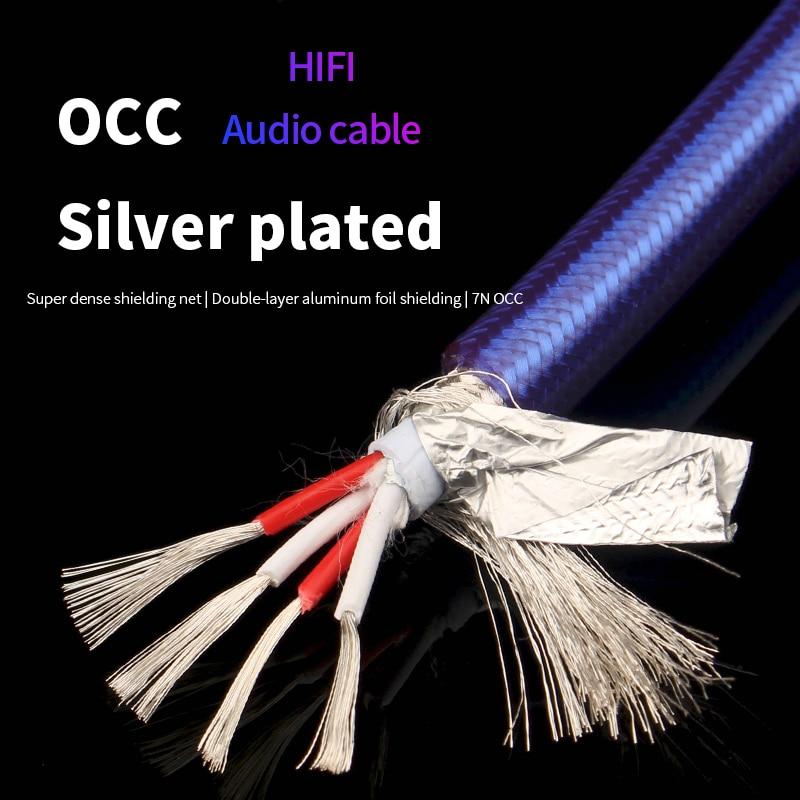 7N OCC chapados en plata de línea de Audio de USB RCA...