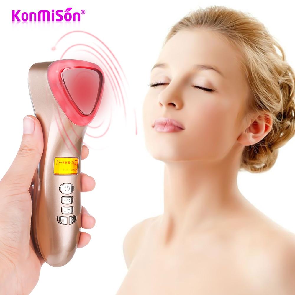 Crioterapia ultrasónica martillo frío caliente LED fotón vibración masajeador estiramiento Facial endurecimiento herramienta de piel de poro de ultrasonido