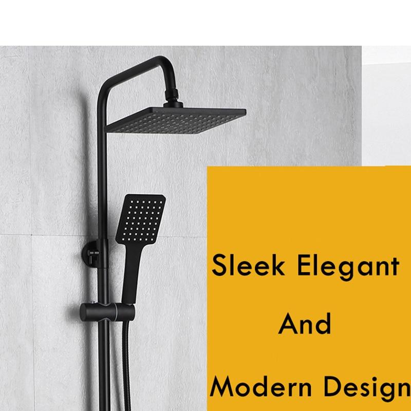 Salle de bain système de douche infusé à lair multifonction pomme de douche pluie mat noir robinet de douche Design moderne