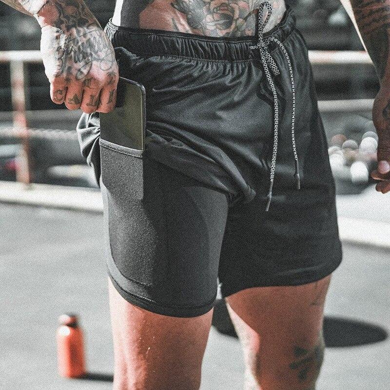 2021 חדש גברים כושר פיתוח גוף ספורט ריצה כושר אימון ייבוש מהיר זכר בגדים 2 ב 1 מזדמן מוצק