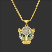 europe and the united states new popular hip hop leopard head inset diamond mens necklace