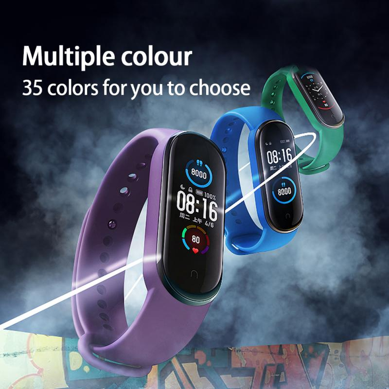 YWR004 M5 M6 Silicone Strap Anti-sweat Smart Bracelet Strap Replacement Wrist Buckle Strap Sports Bracelet Wristband Accessories