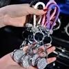 Porte-clés de voiture en cuir tissé à la main en cristal 1 pièce rangement sac véritable avec pendentif avec miroir