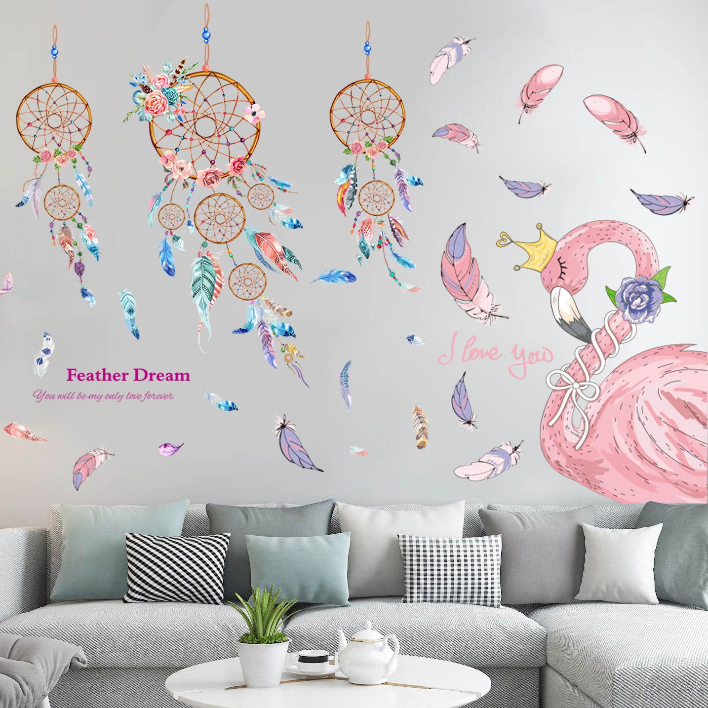 [Shijuekongjian] Dreamcatcher Federn Wand Aufkleber DIY Flamingo Tier Wandbild Decals für Haus Kinderzimmer Baby BedroomDecoration